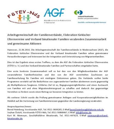 Pressemitteilung, AGF, FÖTEV und Binationale kooperieren